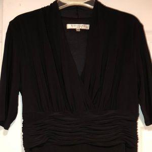 ✨EVAN PICONE Black V Neck Short Sleeve Dress